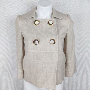 Milly Cream Gold Cropped Tweed Pea Coat Sz 2